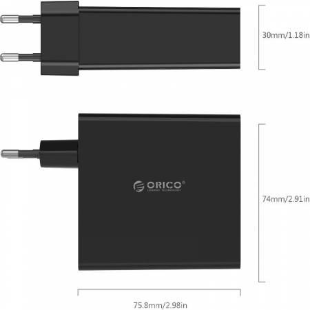 4-портово USB зарядно устройство Orico DCW-4U-EU-BK-PRO