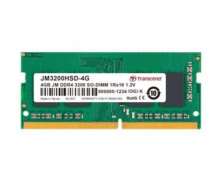 Transcend 4GB JM DDR4 3200Mhz SO-DIMM 1Rx16 512Mx16 CL22 1.2V