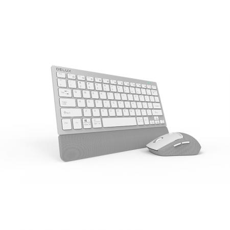 Безжичен/Bluetooth комплект клавиатура и мишка Delux K3300D+M520DB сребрист