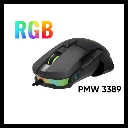 RGB геймърска кабелна USB мишка Delux M629BU PMW3389