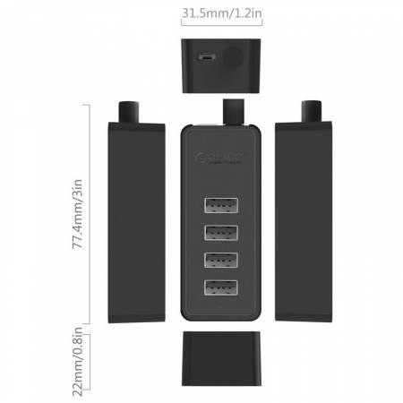 4-портов USB 2.0 хъб Orico W5P-U2-30-BK-PRO 30 см кабел